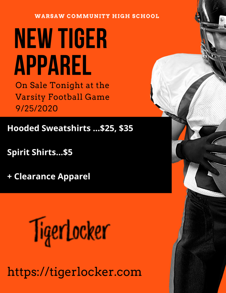 New Tiger Apparel - Tonight at the Varsity Football Game!