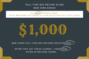 We're Hiring: $1,000 BONUS Full-Time Bus Drivers