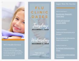 WCS Announce Flu Shot Dates & Sign Up Links
