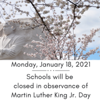 Reminder: School Closed Monday Jan. 18, 2021