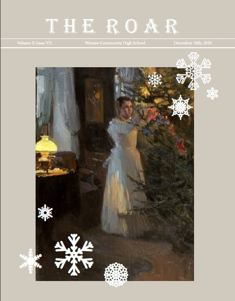Volume X Issue VII of The Roar, snowflakes float down around a vintage painting of a young woman decorating a tree on the cover of the newspaper